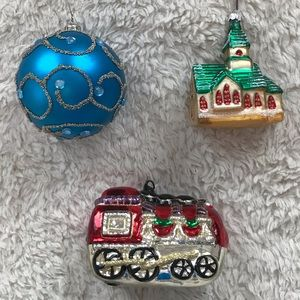 Holiday Bundle of 3 Sparkly Ornaments